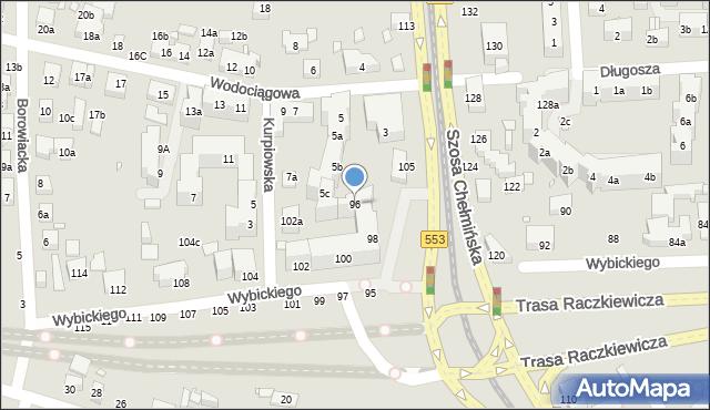 Toruń, Wybickiego Józefa, gen., 96, mapa Torunia