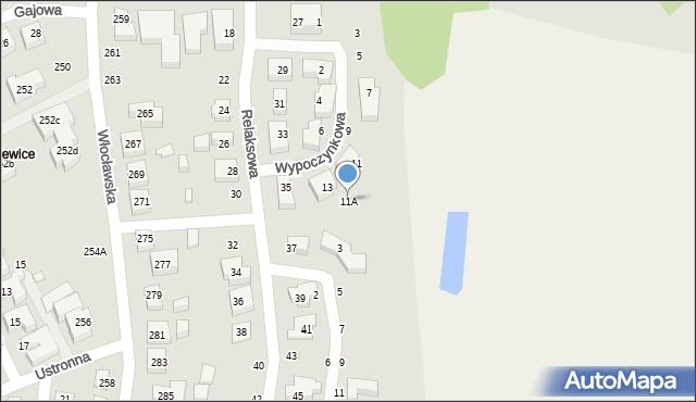 Toruń, Wypoczynkowa, 11A, mapa Torunia