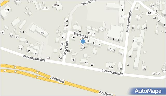 Toruń, Wyrzyska, 11a, mapa Torunia