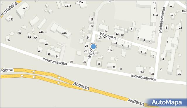 Toruń, Wyrzyska, 19, mapa Torunia