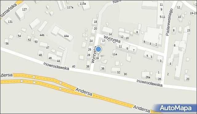 Toruń, Wyrzyska, 21, mapa Torunia