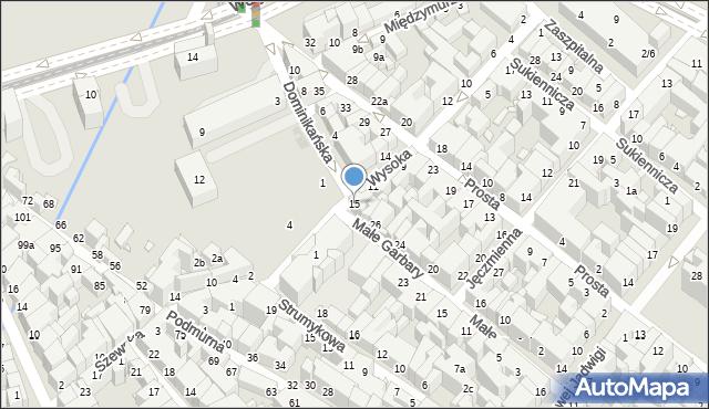 Toruń, Wysoka, 15, mapa Torunia
