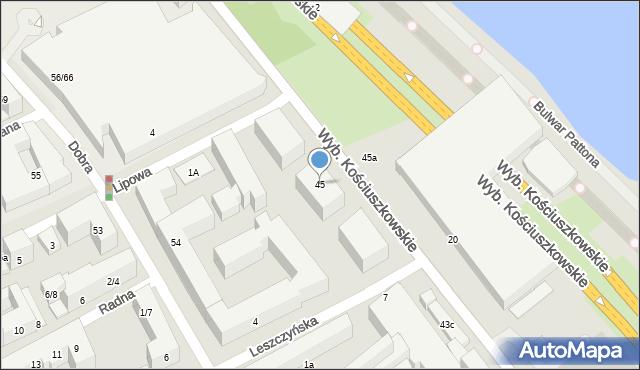Warszawa, Wybrzeże Kościuszkowskie, 45, mapa Warszawy