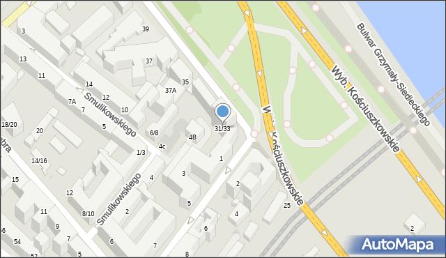 Warszawa, Wybrzeże Kościuszkowskie, 31/33, mapa Warszawy