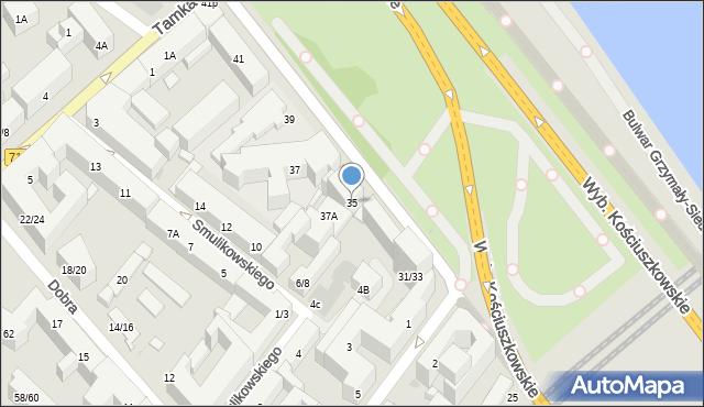 Warszawa, Wybrzeże Kościuszkowskie, 35, mapa Warszawy