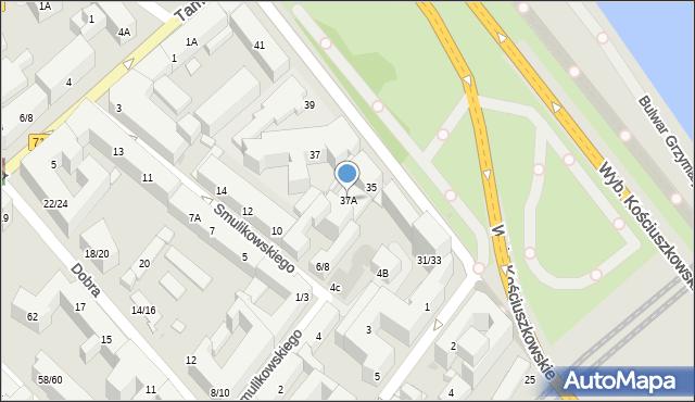 Warszawa, Wybrzeże Kościuszkowskie, 37A, mapa Warszawy