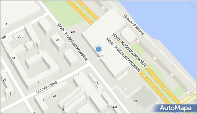 Warszawa, Wybrzeże Kościuszkowskie, 20, mapa Warszawy