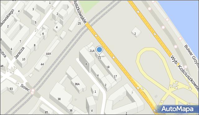 Warszawa, Wybrzeże Kościuszkowskie, 21, mapa Warszawy