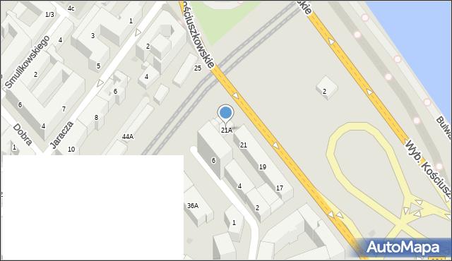 Warszawa, Wybrzeże Kościuszkowskie, 21A, mapa Warszawy
