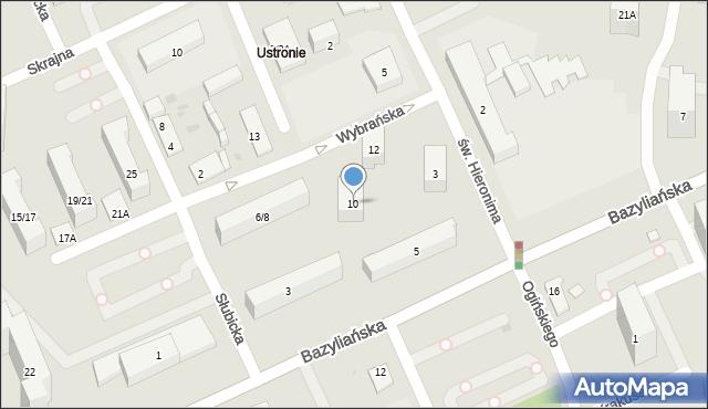 Warszawa, Wybrańska, 10, mapa Warszawy