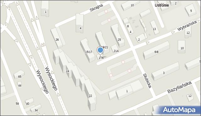 Warszawa, Wybrańska, 17A, mapa Warszawy