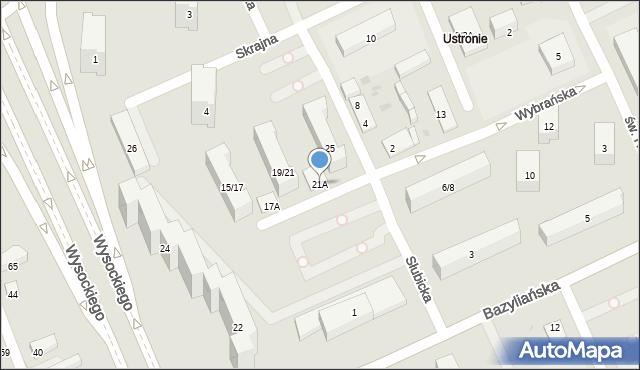 Warszawa, Wybrańska, 21A, mapa Warszawy
