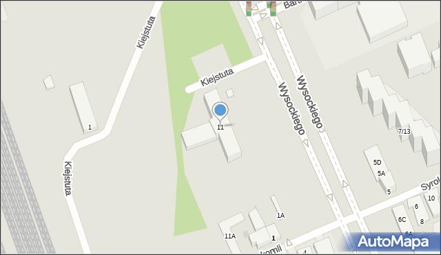Warszawa, Wysockiego Piotra, 11, mapa Warszawy