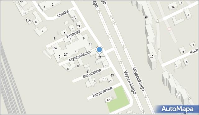 Warszawa, Wysockiego Piotra, 27, mapa Warszawy