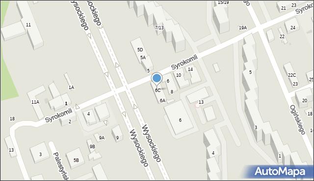 Warszawa, Wysockiego Piotra, 6C, mapa Warszawy