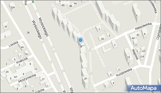 Warszawa, Wysockiego Piotra, 18, mapa Warszawy