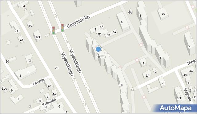Warszawa, Wysockiego Piotra, 20, mapa Warszawy
