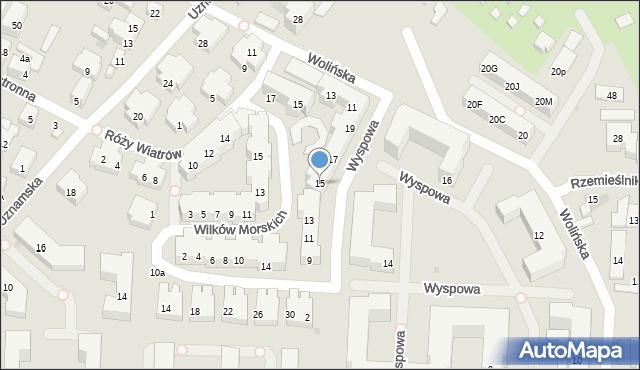 Warszawa, Wyspowa, 15, mapa Warszawy