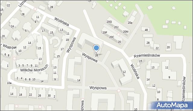 Warszawa, Wyspowa, 16, mapa Warszawy