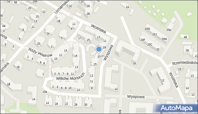 Warszawa, Wyspowa, 17, mapa Warszawy