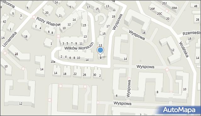 Warszawa, Wyspowa, 9, mapa Warszawy