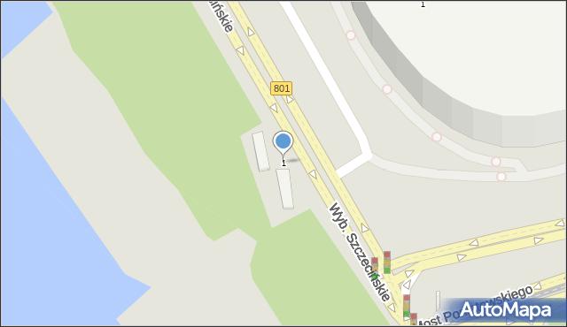 Warszawa, Wybrzeże Szczecińskie, 1, mapa Warszawy