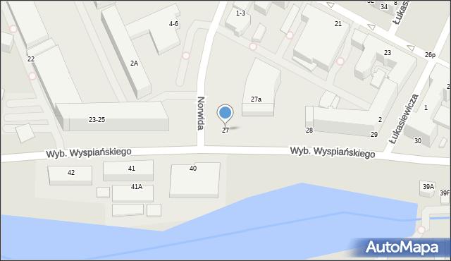 Wrocław, Wybrzeże Stanisława Wyspiańskiego, 27, mapa Wrocławia