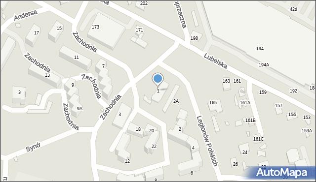 Chełm, Zachodnia, 1, mapa Chełma