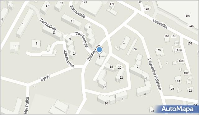 Chełm, Zachodnia, 3, mapa Chełma