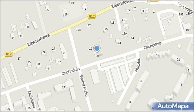 Chełm, Zachodnia, 30, mapa Chełma