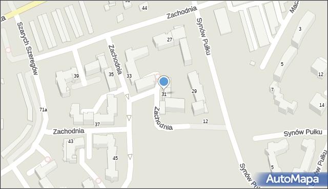 Chełm, Zachodnia, 31, mapa Chełma
