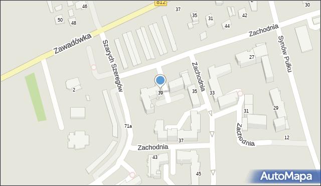 Chełm, Zachodnia, 39, mapa Chełma