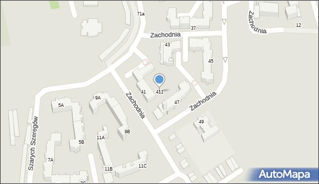 Chełm, Zachodnia, 411, mapa Chełma