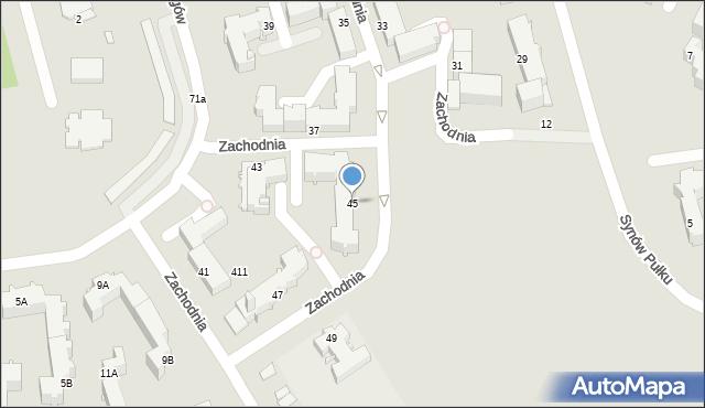 Chełm, Zachodnia, 45, mapa Chełma