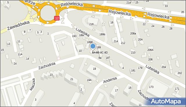 Chełm, Zachodnia, 8c, mapa Chełma