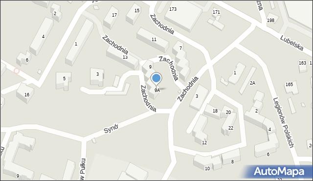 Chełm, Zachodnia, 9A, mapa Chełma