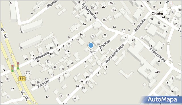 Chełm, Zacisze, 2b, mapa Chełma