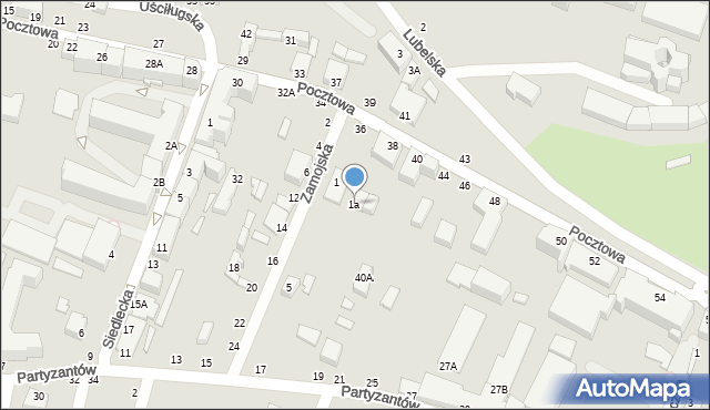 Chełm, Zamojska, 1a, mapa Chełma