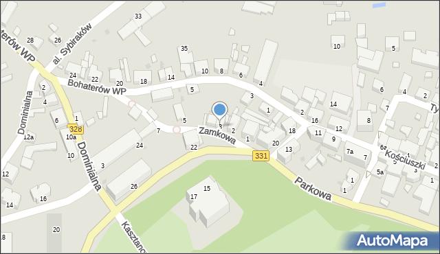 Chocianów, Zamkowa, 3, mapa Chocianów