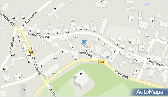 Chocianów, Zamkowa, 4, mapa Chocianów