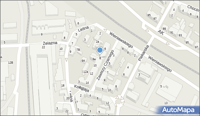 Chorzów, Zawiszy Czarnego, 8, mapa Chorzów