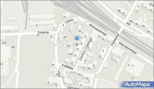 Chorzów, Zawiszy Czarnego, 8a, mapa Chorzów