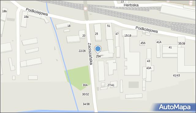 Częstochowa, Zaciszańska, 25A, mapa Częstochowy
