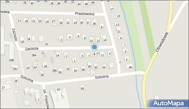 Dobczyce, Zacisze, 9, mapa Dobczyce