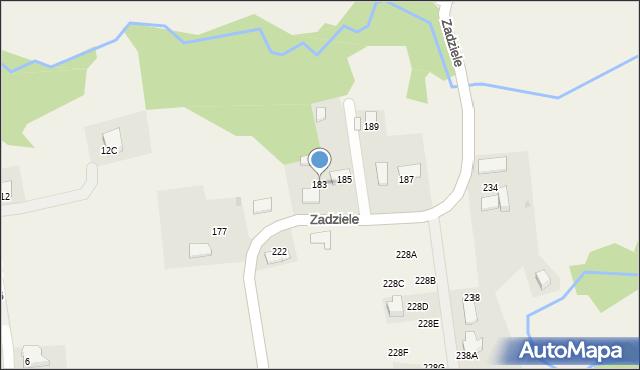 Gaj, Zadziele, 183, mapa Gaj