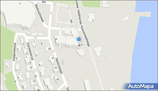 Gdynia, Zawiszy Czarnego, 1B, mapa Gdyni