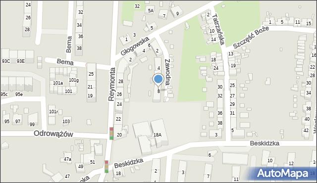 Gliwice, Zawodna, 8, mapa Gliwic