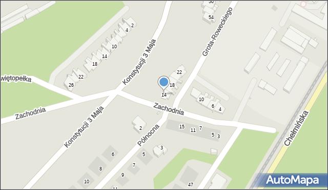 Grudziądz, Zachodnia, 14, mapa Grudziądza