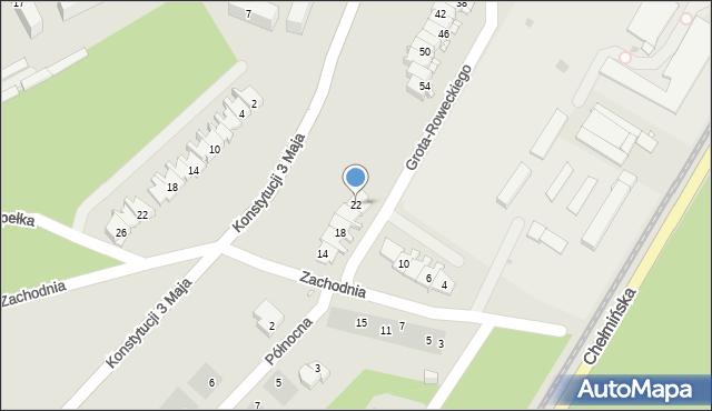 Grudziądz, Zachodnia, 22, mapa Grudziądza