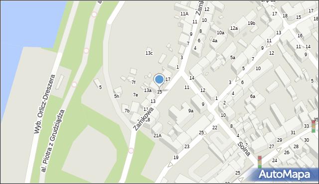 Grudziądz, Zamkowa, 15, mapa Grudziądza